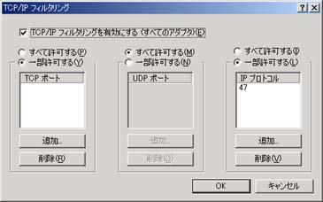 TCP/IPフィルタリング